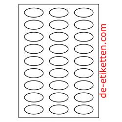 50 x 25 mm Oval 100 Blatt p. Karton GLANZ