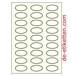 50 x 25 mm Oval 100 Blatt p. Karton Elfenbein