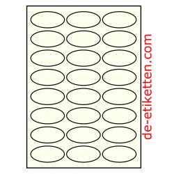 63 x 31 mm Oval 100 Blatt p. Karton Elfenbein