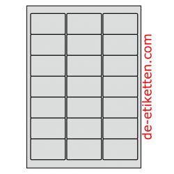 63 x 38 mm 50 Blatt a 21 pro Blatt ALUMINIUM