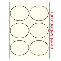 99 x 80 mm Oval Elfenbein 100 Blatt p. Karton