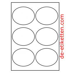 99 x 80 mm Oval 100 Blatt p. Karton