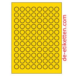 20 mm Runde 100 Blatt p. Karton GELB