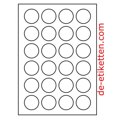 40 mm Runde 100 Blatt p. Karton Mat Transparent