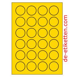 40 mm Runde 100 Blatt p. Karton GELB