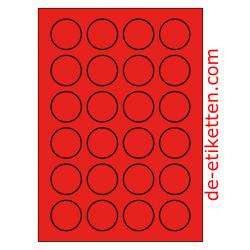 40 mm Runde 100 Blatt p. Karton ROT