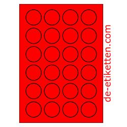 40 mm Runde 100 Blatt p. karton ROT FLUOR
