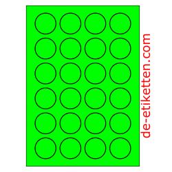 40 mm Runde 100 Blatt p. Karton GRÜN FLUOR