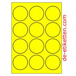 63 mm Runde 100 Blatt p. Karton GELB FLUOR