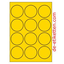 63 mm Runde 100 Blatt p. Karton GELB