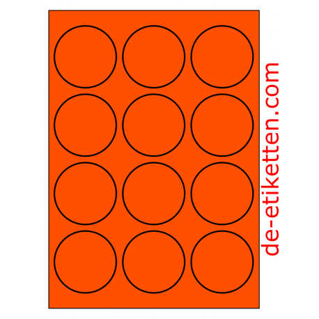 63 mm Runde 100 Blatt p. Karton ORANGE FLUOR
