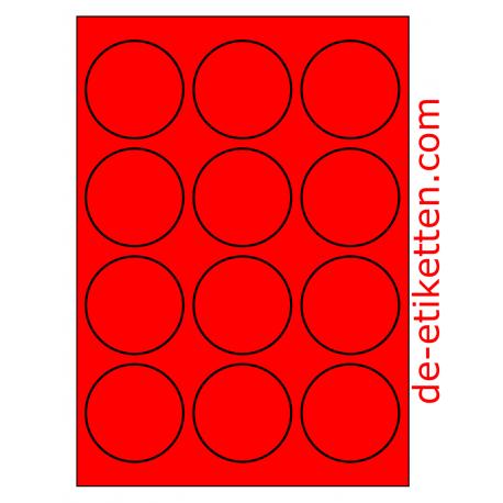63 mm Runde 100 Blatt p. Karton ROT FLUOR