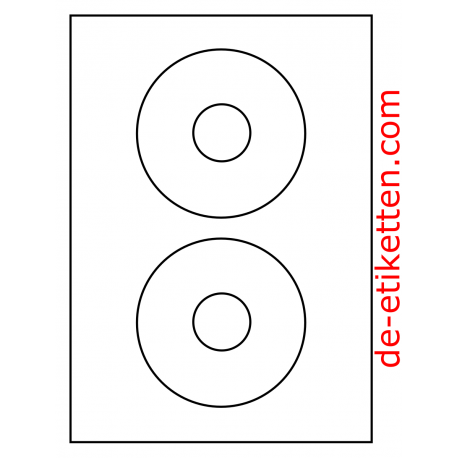CD Glanzweiß 118 mm Etikett 2 pro Blatt 100 Blatt p. Karton