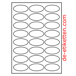 63 x 31 mm Oval 100 Blatt p. Karton