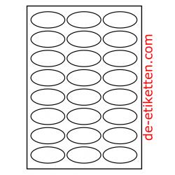 63 x 31 mm 24/A4 Oval GLANZ 100 Blatt p. karton