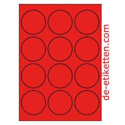 63 mm Runde 100 Blatt p. Karton ROT