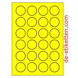 100 Blatt p. Karton Runde 40 mm GELB FLUOR