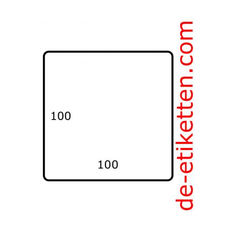 Roletiketten 100 mm x 100 mm 1.700 per rol Poly mat