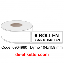Dymo 0904980 Label 104 x 159 mm 6 x 220  Etiketten XL Weiß