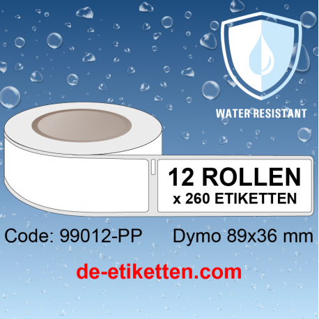 KUNSTSTOFF THERMISCHES ETIKET 99012-PP Dymo Labels 89x36 mm